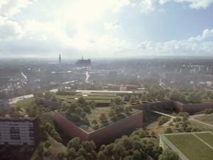 vue aérienne nord-sud du proj